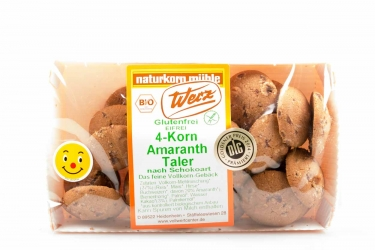 Naturkorn Mühle Werz 4-Korn Amaranth Taler nach Schokoart glutenfrei 125g