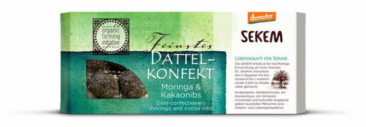 Sekem Dattelkonfekt Moringa Kakaonibs 120g