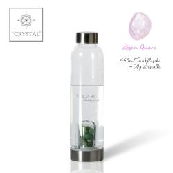 IAM2BE'CRYSTAL© Trinkflasche Classic 550ml+ Rosenquarz (50g)
