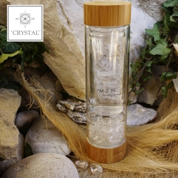 IAM2BE'CRYSTAL© Trinkflasche Tea 350ml (Bambus Verschluss) + Kristall Quarz (150g)