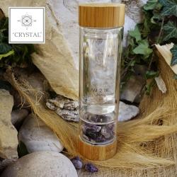 IAM2BE'CRYSTAL© Trinkflasche Tea 350ml (Bambus Verschluss) + Amethyst (150g)