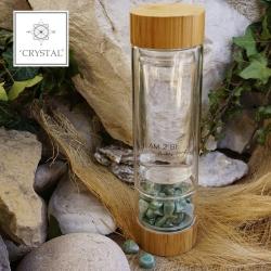 IAM2BE'CRYSTAL© Trinkflasche Tea 350ml (Bambus Verschluss) + Aventurin (150g)