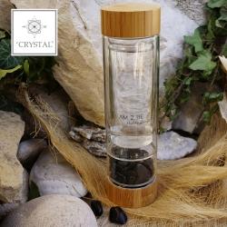 IAM2BE'CRYSTAL© Trinkflasche Tea 350ml (Bambus Verschluss) + Obsidian (150g)