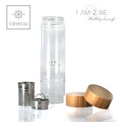IAM2BE'CRYSTAL© Trinkflasche Tea 350ml mit Bambus Verschluss
