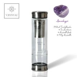 IAM2BE'CRYSTAL© Trinkflasche Tea 350ml (Edelstahl Verschluss) + Amethyst (150g)