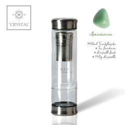IAM2BE'CRYSTAL© Trinkflasche Tea 350ml (Edelstahl Verschluss) + Aventurin (150g)