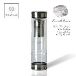 IAM2BE'CRYSTAL© Trinkflasche Tea 350ml (Edelstahl Verschluss) + Kristall Quarz (150g)