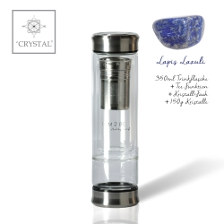 IAM2BE'CRYSTAL© Trinkflasche Tea 350ml (Edelstahl Verschluss) + Lapis Lazuli (150g)
