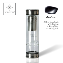 IAM2BE'CRYSTAL© Trinkflasche Tea 350ml (Edelstahl Verschluss) + Obsidian (150g)